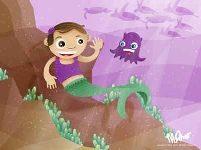Mermaid Elliot illustration vector for kids mermaid underwater squid turtles inkpad