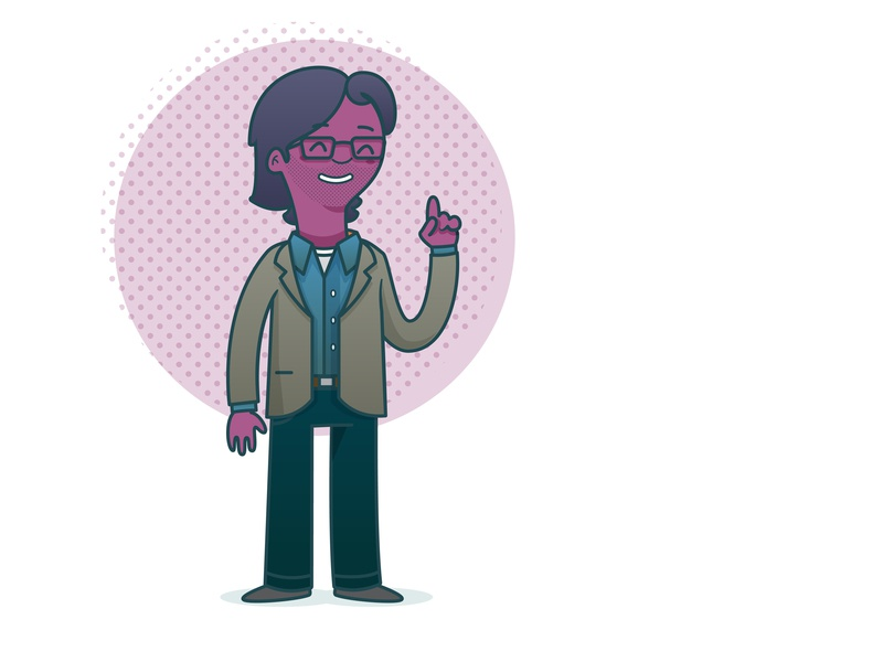 Kai person stubble character vector illustration illustrator character design