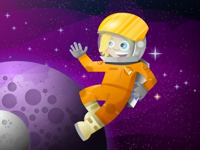 Super Astronaut Lady character design inkpad space astronaut planets space suit helmet visor stars for kids vector illustration