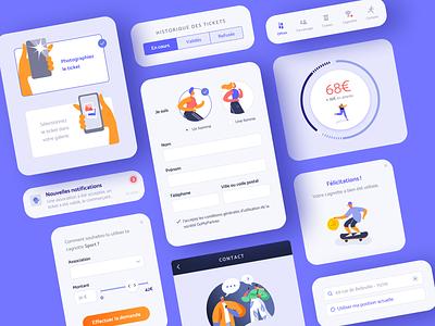 Sports cashback app - Design System ui ux product design interface app ecommerce shop forms design system buttons cards blue sport cashback