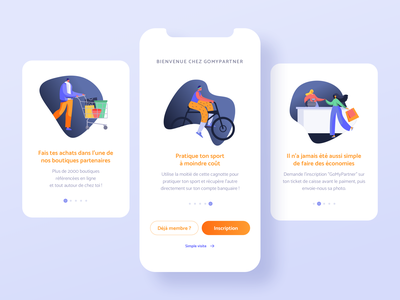 Sports cashback app - Tutorial steps product design orange blue shape interface ux ui onboarding sport vector illustration tutorial