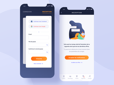 Sports cashback app - Sign in, Sign up and Notification page connexion product design ui ux app mobile interface orange blue notification sign up sign in login
