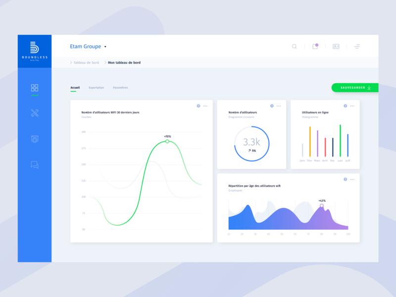 Data website - Dashboard website desktop menu curves data line data visualization graphics blue ui ux dashboard