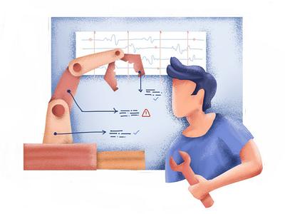 Predictive Maintenance adishri machine learning analytics ipad pro procreate operations ai data science maintenance illustration