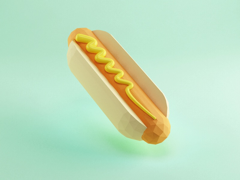 Hot Doggy render vray food low poly hot dog mustard baseball geoaday