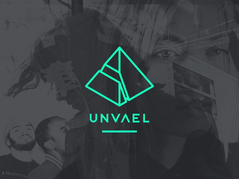 Unvael music branding logo custom type type 3d polygon pyramid website unvael gems