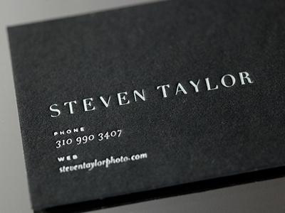 Steven Taylor letterpress business card duplex foil black logo