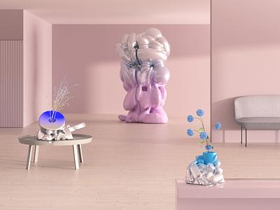 Sculpture Garden redshift3d sculpture interior design render design c4d 3d
