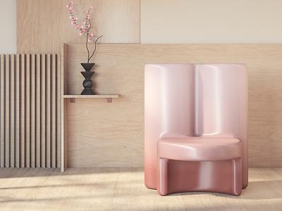 Molded Gradient Chair redshift3d art direction furniture chair design chair render c4d 3d