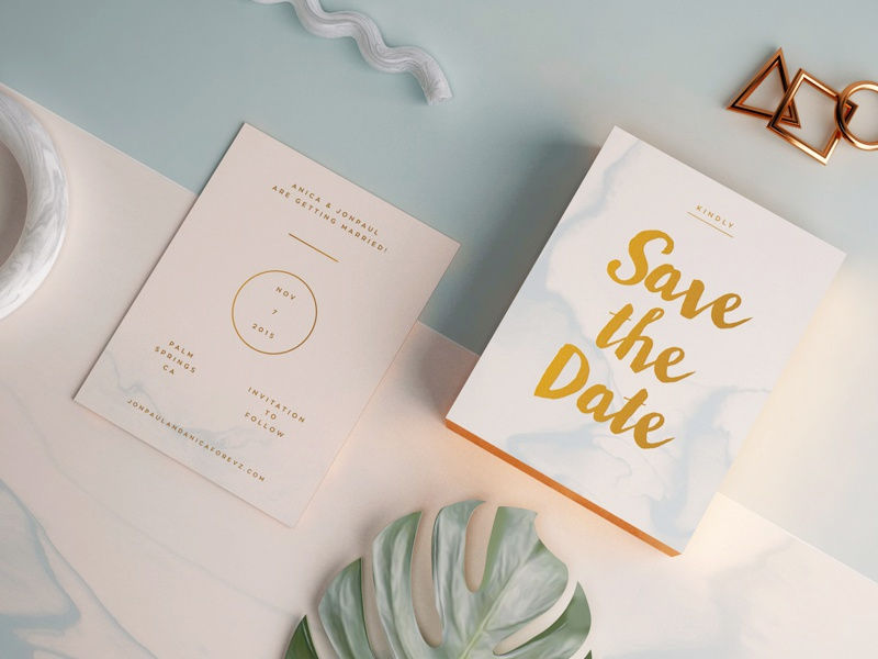 Save The Date print marble copper foil card 3d vray c4d wedding