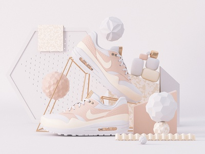 Swish-Swish copper all day vray 3d c4d vibes peach air max nike
