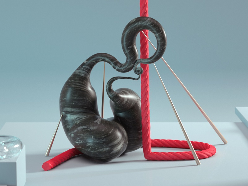 Structure brass cgi black marble red rope glass octane c4d 3d