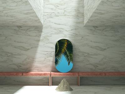 Summer Mood c4d 3d dusty rose velvet sand summer mirror sky palms marble