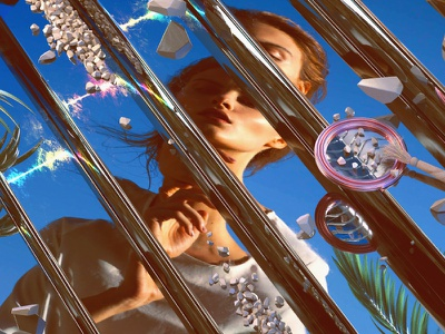 Summer Seventeen mirror sand beach stones rocks los angeles palms octane 3d c4d summer portrait