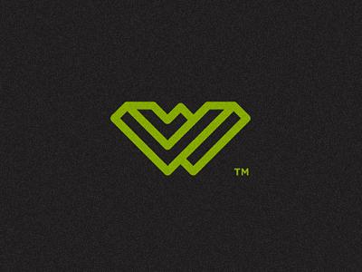 W logo mark w impossible optical illusion opart green nerd