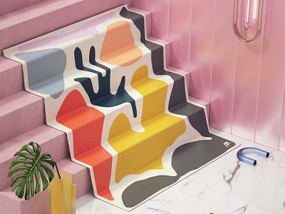 Marleigh Culver marble stairs yoga textile cgi render c4d octane 3d cloth fabric