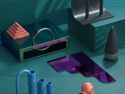 Desk Objects ceramic glass renders otoy c4d 3d printed objects desk 3d