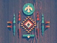 Navajo Geo Woodcut