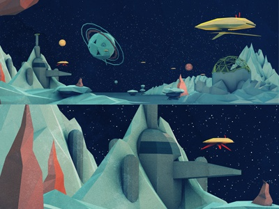 Spacescape 3d cinema dystopia poly space landscape c4d low poly geo a day