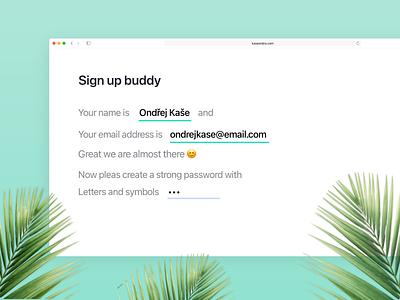 Sign up form minimalism website product design 2020 design ui sign up ux easy palm green signup