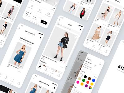 Bidie vinted beatiful app mobile app minimalism design ui auction app clothing app clothing