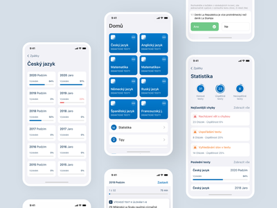 Maturita tests czech blue app language appp modern mobile apps mobile app webdesign product design design ui test app test maturita