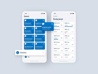 Maturita tests concept startup czech modern minimalism product design design cermat maturita test app app design ui design app ui