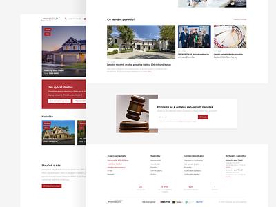 Real estate auction website houses product design simple design whitespace minimalism trendy 2020 clean design modern web design red website portal auctions webdesign design ui