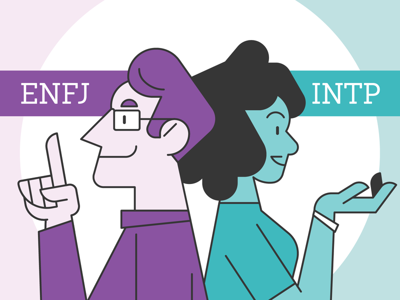 Myers-Briggs Business Partners extroverted introverted complimentary strengths connections matchmaking small business partners partner business businessman businesswoman business people personality myers-briggs character design illustration