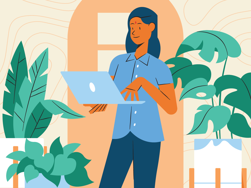 Working From Home covid19 problem solving business owner women in tech illustration connection houseplants plants remote work work in progress wfh work from home