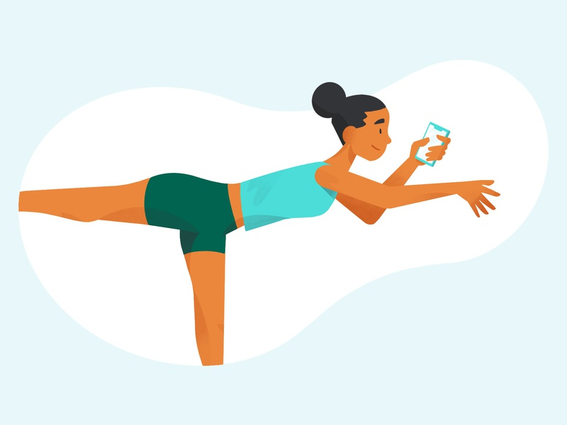Young and Healthy active female character balance smartphone personal finance character design pose diversity yogi woman illustration health life insurance young adult yoga yoga pose