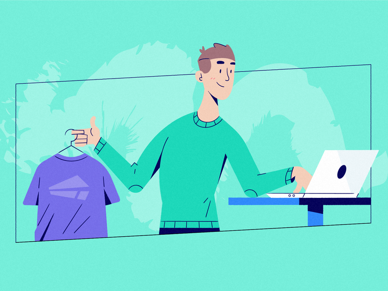 Side Hustles hustle culture illustration drawing character dad ecommerce thrift fashion part time job remote work scheduling people pop up clothing used clothing online shop parents parenthood side project hustle