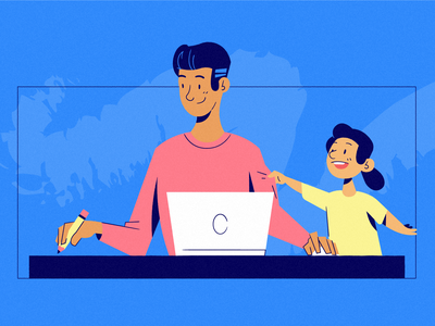 Flexible Jobs desk character drawing design illustration family schedule flexible flexibility hustle side-hustle side-project child children dad people part-time job parenting parenthood