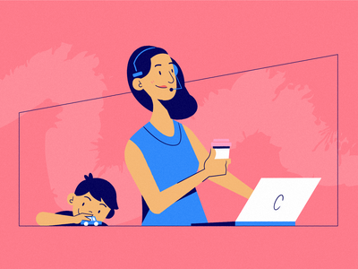Parenting is a Full-Time Job wfh work from home admin assistant part time job parenting parenthood side gig side hustle ecommerce dropship child mother mom illustration character