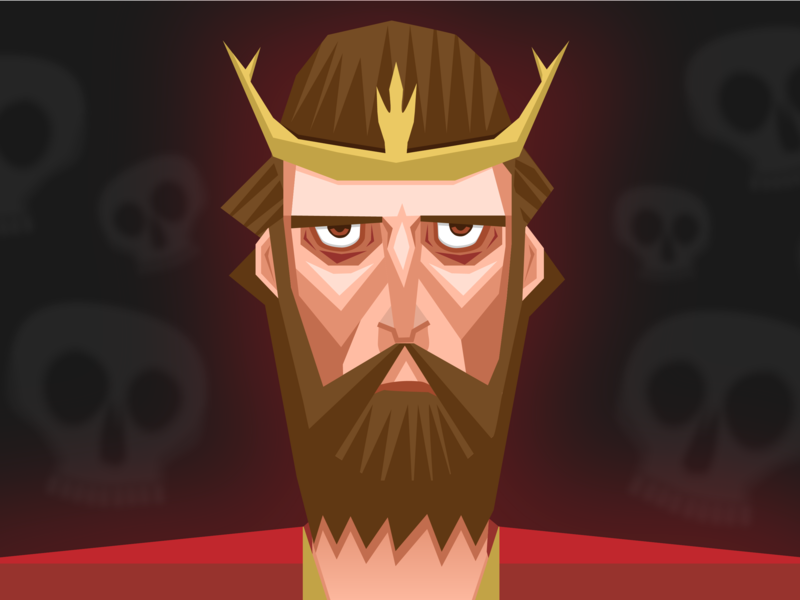 Macbeth eyes crown skull beard illustrator king design death macbeth vector illustration