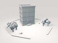 Low poly building - Clay Render