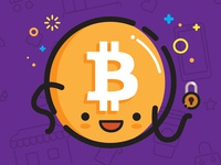 Bitcoin friend mbe vector illustration happy cryptocurrency ethereum blockchain bitcoin