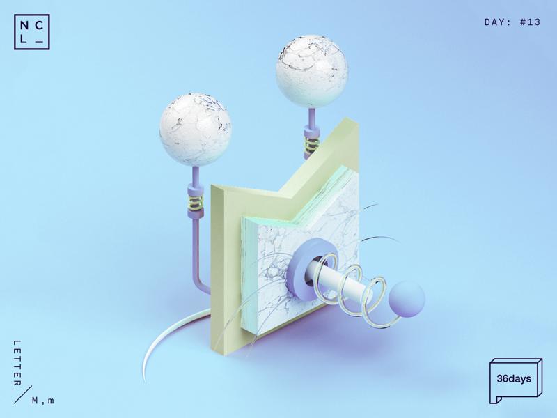 Letter M 3d number letter illustration graphic mouse 36daysoftype 36days-m