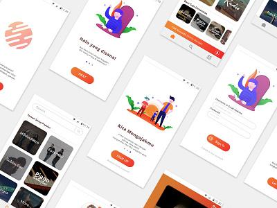 KawanSenja Mobile UI orange sunset user interface ui design illustration