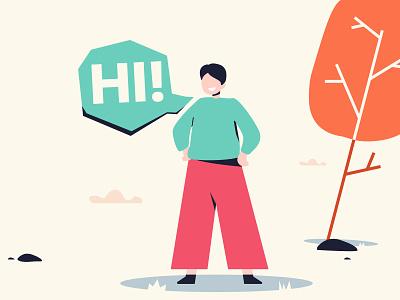Hi! Illustration green vector design illustration