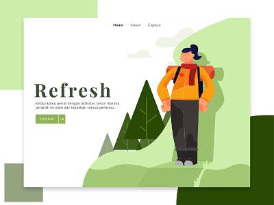 Refresh Illustration ui hiking nature green vector design illustration