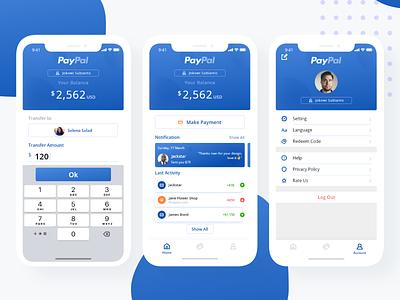 Paypal App Redesign ui design iphone design mobile design ios transfer blue paypal ux-ui payment design ui
