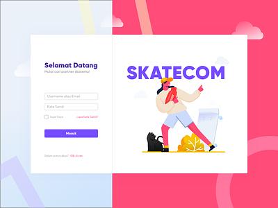 Skatecom hypebeast skateboard character purple flat ux vector ui design illustration