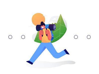 Hi Trees! Hi Nature! orange character ux vector ui flat design flatillustration illustration design