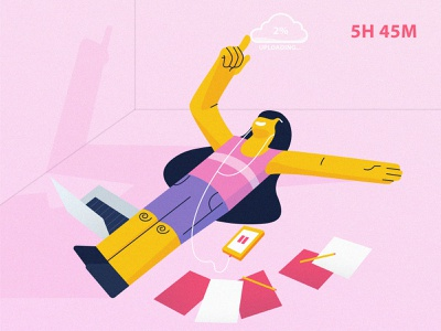 enjoy uploading data yellow flat vector character ux ui illustration design