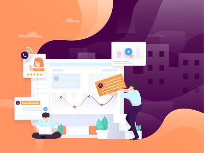 Customer Research chart data customer crm saas marketing working space work product design heroimage web orange flat character illustration design