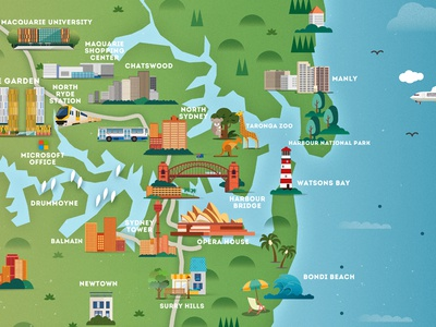 Sydney Map by Lin Mei Dribbble