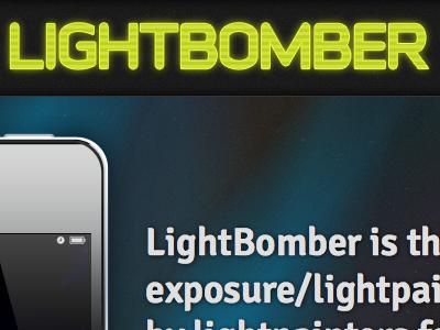 Lightbomber iphone app web page dark colorful