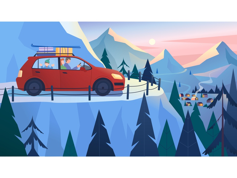 Winter vacation weekend vacation mountains landscape illustrator 2d art illustration vector