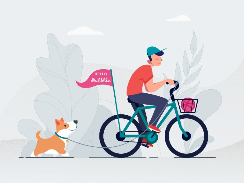 Hello Dribbble! corgi dog debut cyclist bike bicycle thanks invites illustrator illustration first short hello dribbble